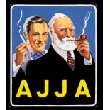 AJJA (1+) Emailschild, abgekantet, schabloniert und lithographiert, Belgien 1951, 56 x 66 cm,