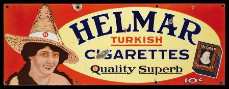 HELMAR TURKISH CIGARETTES (3+) Emailschild, flach, schabloniert und lithographiert, um 1920, 70 x 25