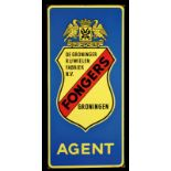 FONGERS (1) Emailschild eines Fahrradfabrikanten, abgekantet, schabloniert, Groningen/Niederlande