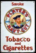 PLAYER's NAVY CUT (2) Emailschild, flach, schabloniert und fein lithographiert, England um 1920,