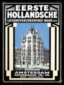 EERSTE HOLLANDSCHE (1) Emailschild, abgekantet, dick schabloniert, zudem lithographiert, Amsterdam/