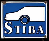 STIBA (3) Emailschild, abgekantet, schabloniert, Niederlande 50er Jahre, 50 x 40 cm Emaille bord met