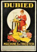 DUBIED MACHINES Á TRICOTER (1-2) Blechschild im imposanten Großformat, in fettem Relief geprägt,