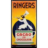 RINGERS CACAO EN CHOCOLADE extrem seltenes Emailschild in imposantem Großformat, abgekantet,