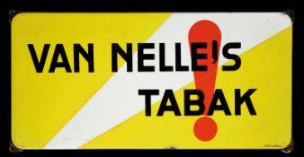 VAN NELLE's TABAK (2) Emailschild, abgekantet, dick schabloniert, Niederlande um 1933, 50 x 25 cm,