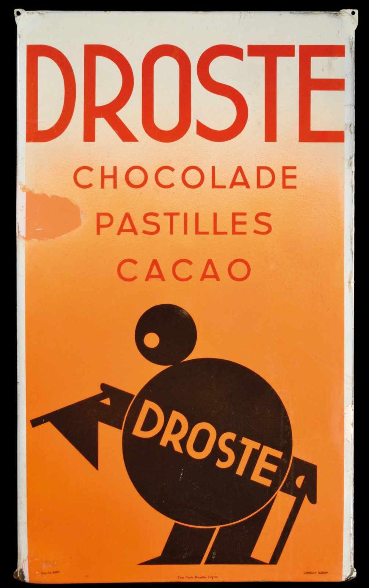 DROSTE CHOCOLADE (R/3) Emailschild, abgekantet, schabloniert und lithographiert, Belgien/Niederlande