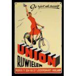UNION RIJWIELEN (R/3) Emailschild, gewölbt, schabloniert und lithographiert, Hulst a/d Dedemsvaart/