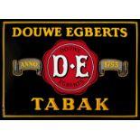 DOUWE EGBERTS TABAK (1) Emailschild, gewölbt, schabloniert, Niederlande um 1930, 70 x 50 cm, seltene