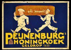 PEIJNENBURG's HONINGKOEK (1) Blechschild, Motiv, Schrift und Umrahmung reliefartig geprägt, zudem