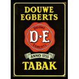 DOUWE EGBERTS TABAK (1+) Emailschild, abgekantet, dick schabloniert, Niederlande um 1940, 47 x 67