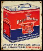 ROYAL WINDSOR OIL (2) Blechschild, reliefartig geprägt, zudem lackiert, 30 x 37 cm, Belgien 1938,