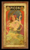 PICON 3 Blechschild im original Holzrahmen, fein lithographiert, Frankreich um 1900, 28 x 48 cm,
