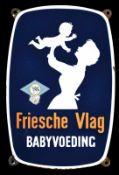 FRIESCHE VLAG (1-2) Emailschild, abgekantet, schabloniert und lithographiert, Niederlande um 1950,