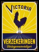 VICTORIA VERZEKERINGEN (1) Emailschild, abgekantet, schabloniert und lithographiert, Niederlande