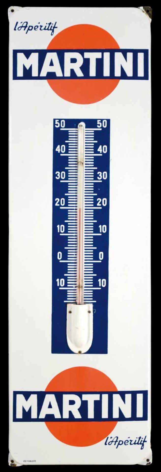 MARTINI L'APERITIF (1) Emailschild, abgekantet, dick schabloniert, integrierter Thermometer,