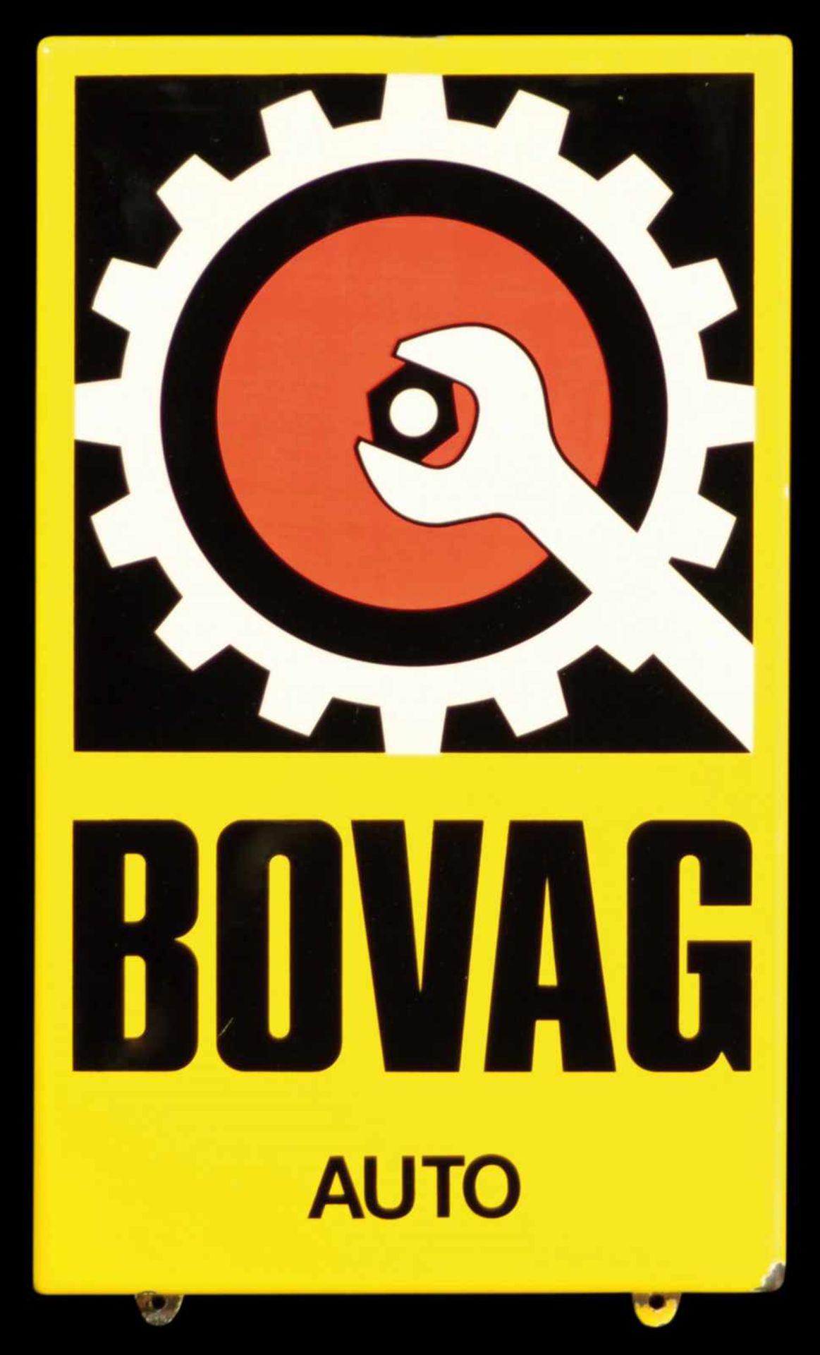 BOVAG AUTO (1-) Emailschild, abgekantet, schabloniert, Niederlande um 1960, 30 x 50 cm Emaille