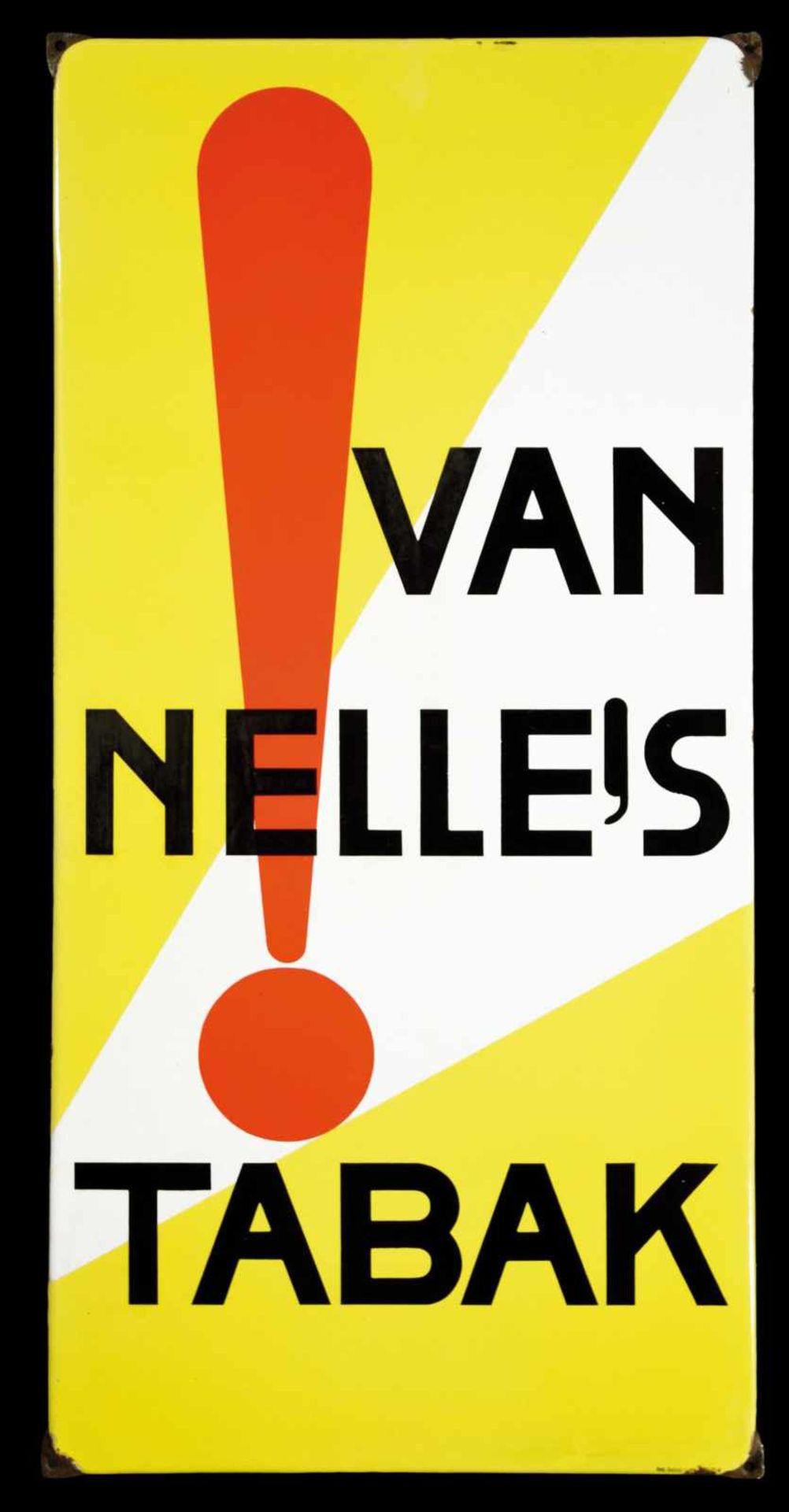 VAN NELLE's TABAK (1) Emailschild, abgekantet, schabloniert, Niederlande um 1933, 48 x 97 cm,