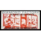 DIAMOND FACTORY (1-) Emailschild, abgekantet, schabloniert, Amsterdam/Niederlande 60er Jahre, 97 x