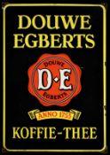 DOUWE EGBERTS KOFFIE-THEE (1-) Emailschild als kleine Version, schabloniert, Niederlande vor 1951,