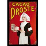 DROSTE CACAO (2) Emailschild, gewölbt, dick schabloniert, zudem fein lithographiert, Niederlande