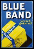 BLUE BAND (3+) Emailschild, abgekantet, schabloniert und lithographiert, Niederlande um 1930, 96 x