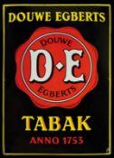 DOUWE-EGBERTS TABAK (1) Emailschild, gewölbt, schabloniert, Niederlande 30er Jahre, 50 x 70 cm