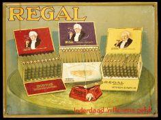 REGAL (2) Blechschild, stark geprägter Rand, lithographiert, Niederlande um 1930, 49 x 36 cm,
