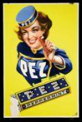 PEZ (2+) eines der gesuchtesten Schilder dt. Nachkriegsreklame - die PEZ-Dame. Emailschild,