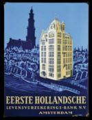 EERSTE HOLLANDSCHE (1-) Emailschild, abgekantet, dick schabloniert, zudem lithographiert,