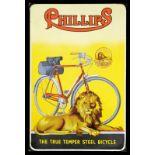 PHILLIPS BICYCLE (2) Emailschild, abgekantet, schabloniert und lithographiert, Birmingham/England um