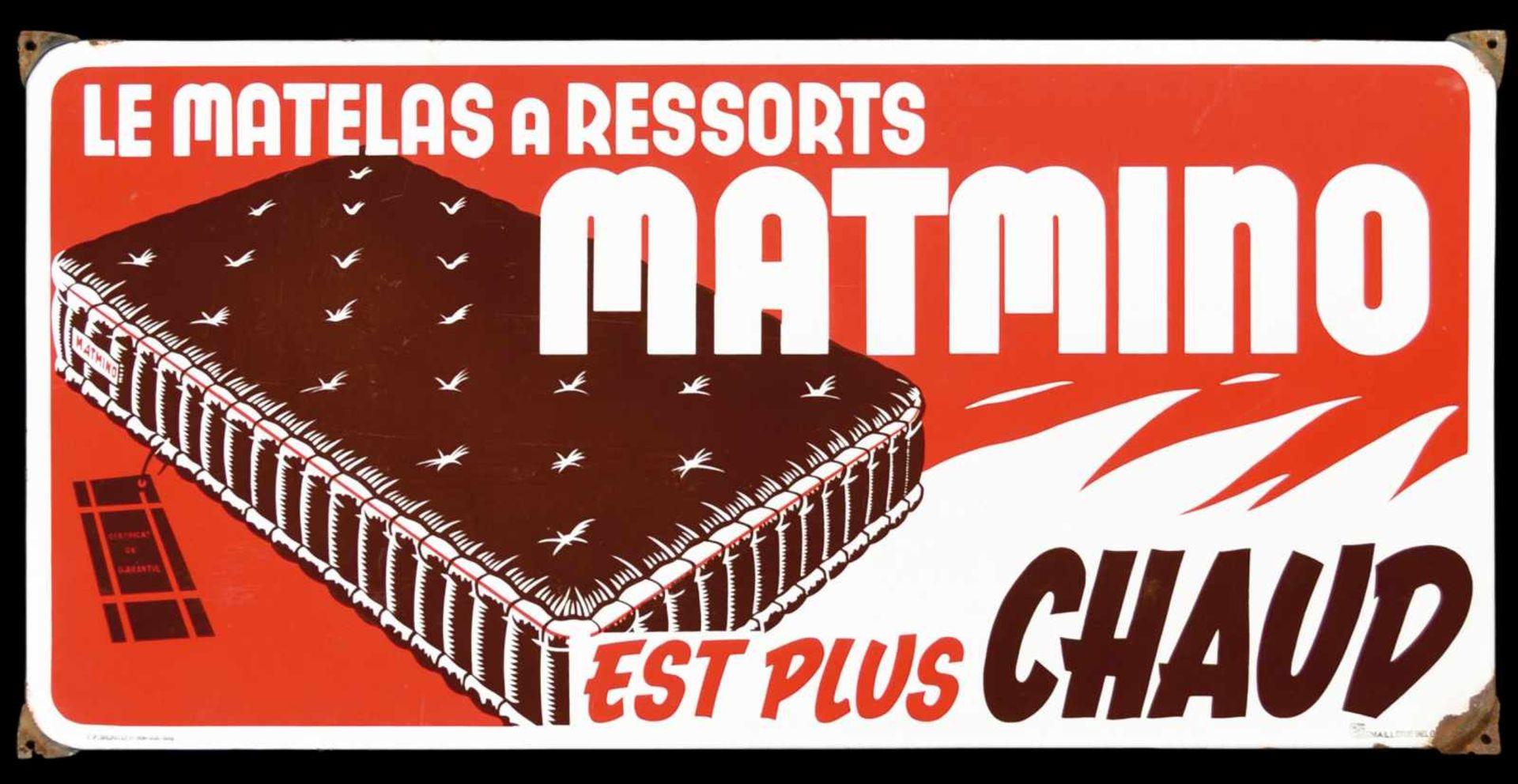 MATMINO (1-2) Emailschild, abgekantet, schabloniert, Belgien 1948, 98 x 48 cm, Emaillenrie Belge.