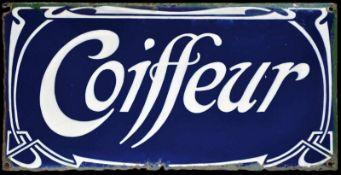 COIFFEUR (3) Emailschild, gewölbt, fett, zuckergußartig schabloniert, Frankreich um 1900, 50 x 25