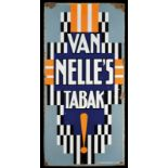 VAN NELLE's TABAK (2-3) Emailschild, schräg abgekantet, schabloniert, Niederlande um 1920, 48 x 98