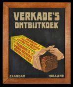 VERKADE's ONTBIJKOEK (2) Papplithographie im Holzrahmen hinter Glas, Zaandam/Niederlande um 1930, 47