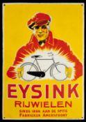EYSINK RIJWIELEN (R/3) Emailschild, gewölbt, dick schabloniert, zudem lithographiert, Amersfoort/