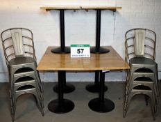 Six 600mm x 600mm Solid Oak Café Tables with Heavy Duty Pedestal Base & Adjustable Feet and Eight