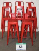 Eight Red Painted Steel Bar Stools