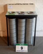 A 770mm 3-Port Recycling Table & Condiment Station with Three Recycle Bins (As Photographed)