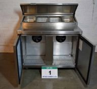 A FOSTER FPS2HR 1150mm x 850mm Stainless Steel Refrigerated Saladette with Preparation Station and