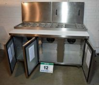 A FOSTER FPS3HR 1.7M Chilled Saladette and Preparation Station with 3-Door Cupboard Storage
