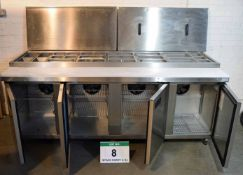 A FOSTER FPS4HR 3M Stainless Steel Saladette & Preparation Counter with 4-Door Chilled Cupboard