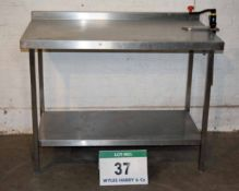 A 1200mm x 700mm Stainless Steel Preparation Table with fitted BONZER Manual Tin Opener