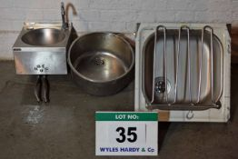 A Stainless Steel Hand Basin with Knee Push Actuation, A Flush Mount Roud Bowl & A Sluice Sink (As