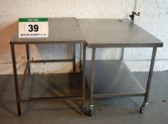 Two approx. 1150mm x 700mm Stainless Steel Preparation Tables with One fitted BONZER Manual Tin