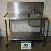A 1200mm Stainless Steel Single Bowl, Single Drainer Kitchen Sink on Castor Wheels, fitted Mixer Tap