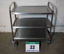 A 3-Tier Stainless Steel Kitchen Trolley