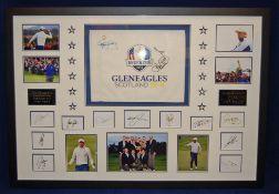 A 127cm x 88cm Framed & Glazed Display commemorating the 2014 Ryder Cup at Gleneagles &