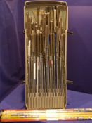 A COBRA 52 Shaft Capacity Golf Club Shaft Display Rack with Approx. Fifty Two Various Shafts & A