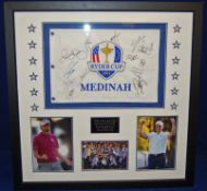 A 90cm x 90cm Framed & Glazed Display commemorating the 2012 Ryder Cup at Medinah Country Club,