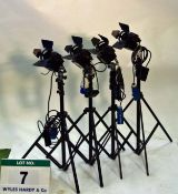 Four LTM Pepper 100 Watt FRESNEL Lights with Dimmers Controls and four Lightweight Triple